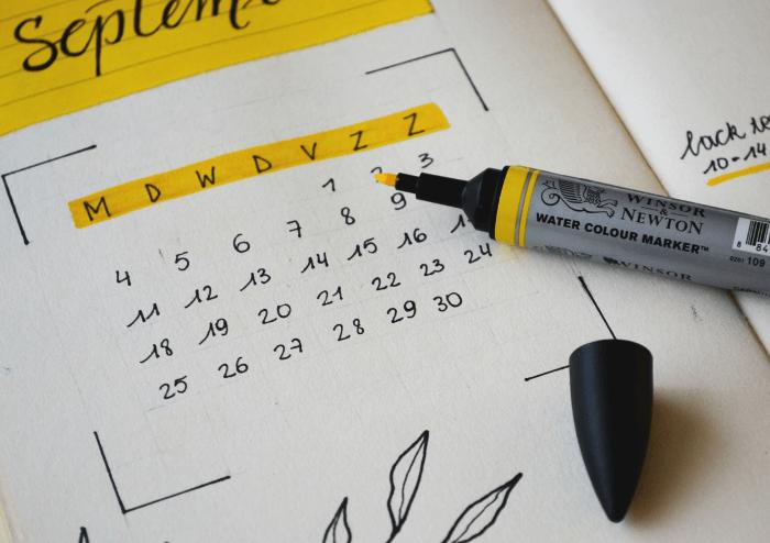 An editorial calendar